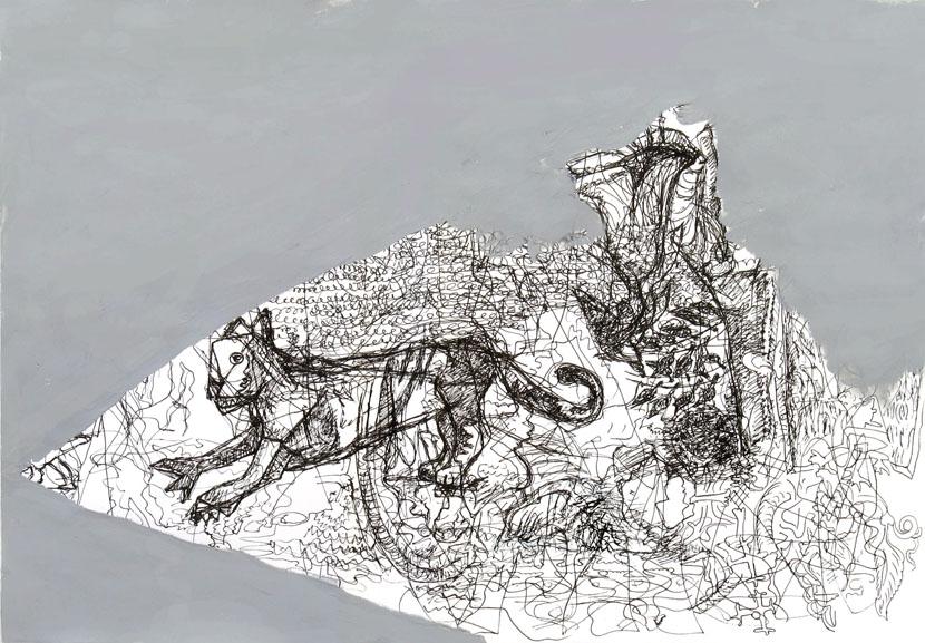 o. T., 35 x 45 cm, Pigmenttusche, Acryl