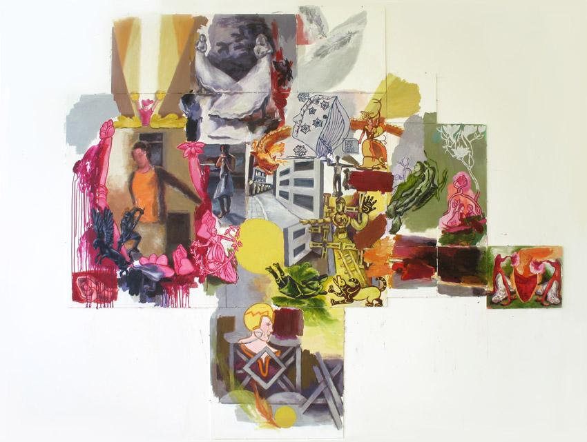 """""""Mitte"""", 200 x 150 cm, 10-teilig, Acryl auf Hartfaserplatte"""