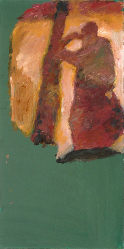 anwesend, 30 x 10 cm, Acryl auf Hartfaserplatte