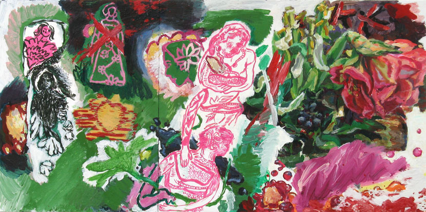 Schnittblumen, 40 x 80 cm, Acryl auf Hartfaserplatte