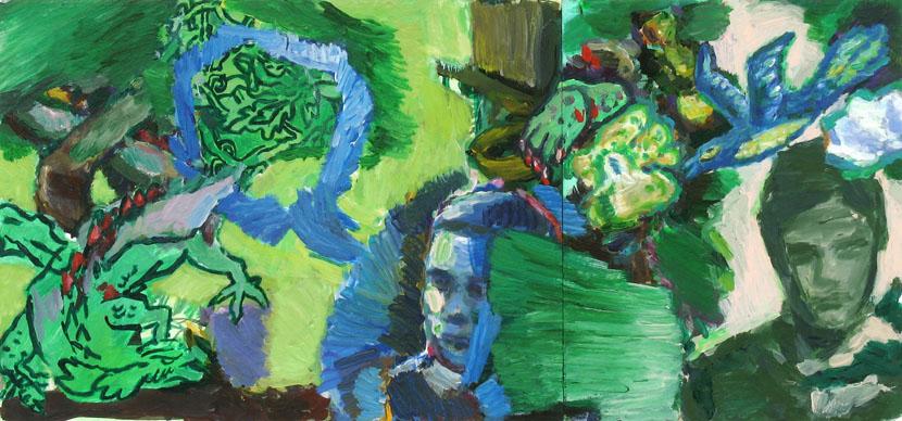 Krallen, Maul, Stacheln und Fluegel, 30 x 65 cm, Acryl auf Hartfaserplatte