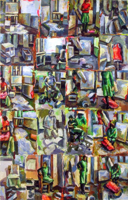 o. T., 110 x 70 cm, Acryl auf Hartfaserplatte