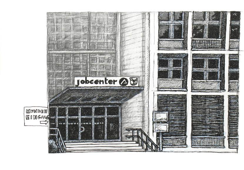 Jobcenter, 30 x 40 cm, Pigmenttusche, Bleistift, Zeichenkreide
