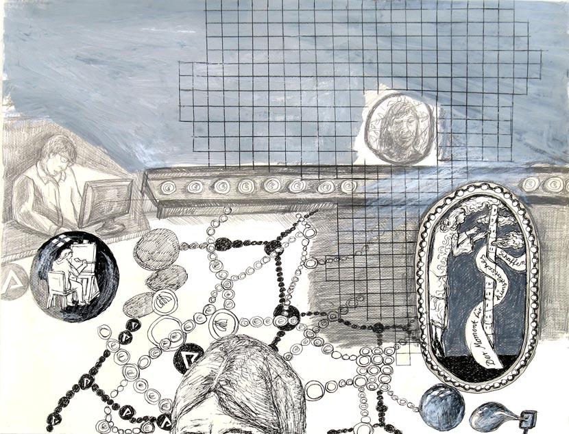 o.T., 40 x 60 cm, Bleistift, Acryl, Pigmenttusche