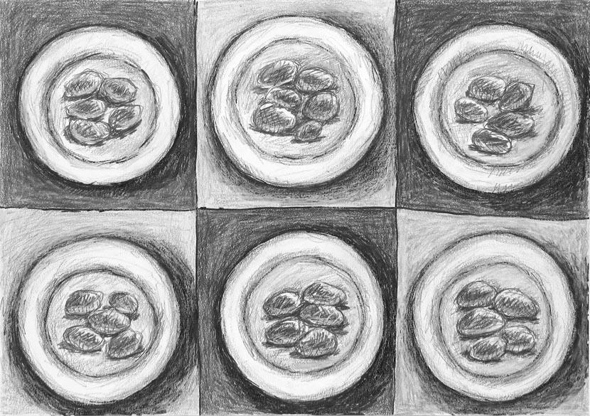o.T., 30 x 40 cm, Buntstift, Zeichenkreide