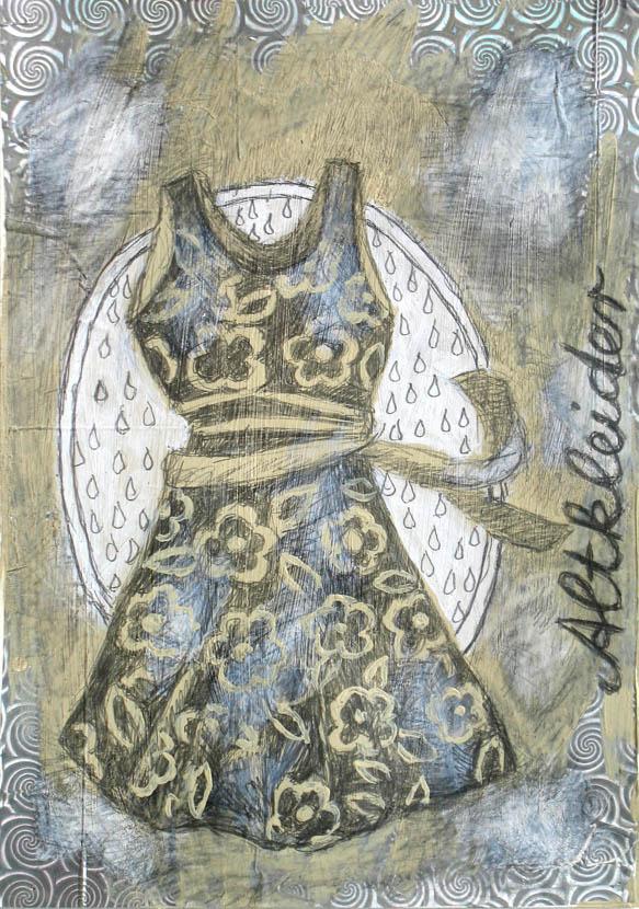 Altkleider, 30 x 21 cm, Bleistift, Acryl, Glanzfolie
