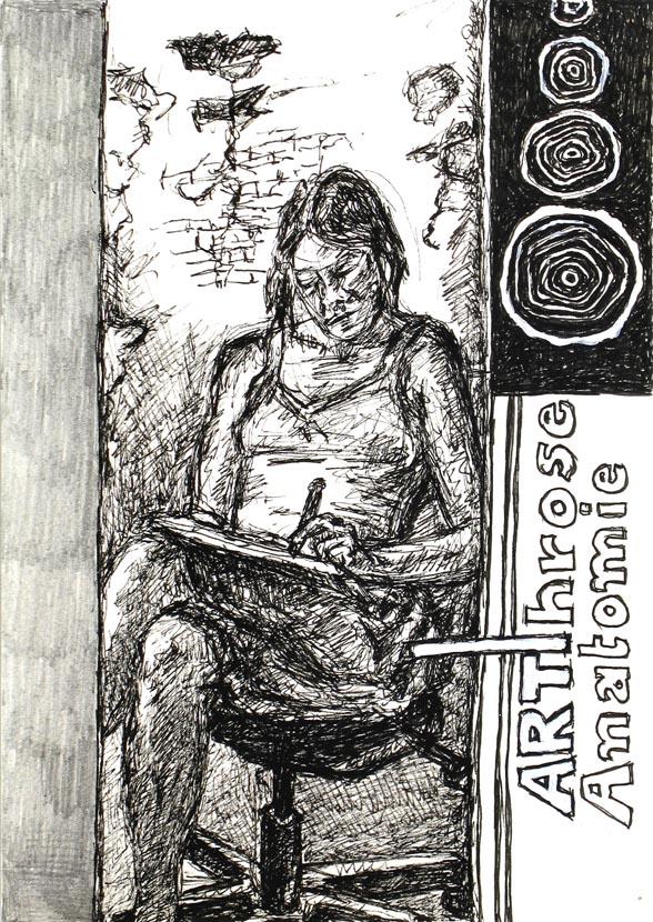 Arthrose Anatomie, 30 x 21 cm, Pigmenttusche, Bleistift