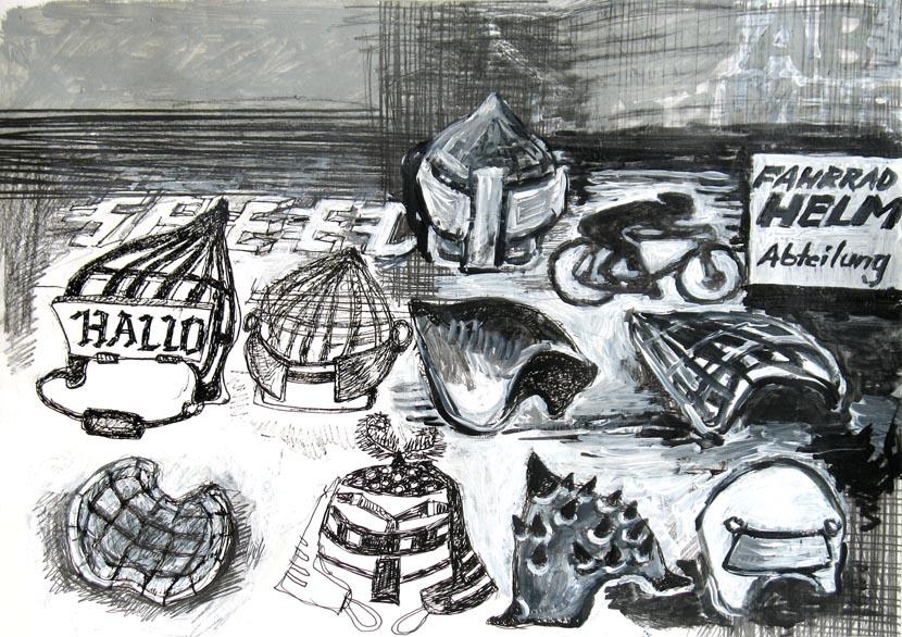 Fahrradhelmabteilung, 21 x 30 cm, Bleistift, Acryl, Pigmenttusche