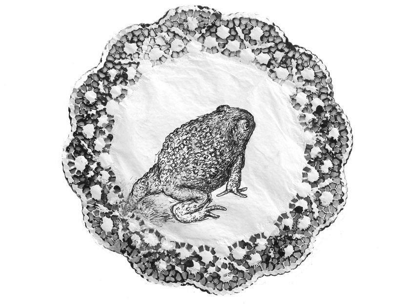 o.T., Durchmesser ca. 30 cm, Pigmenttusche, Acryl