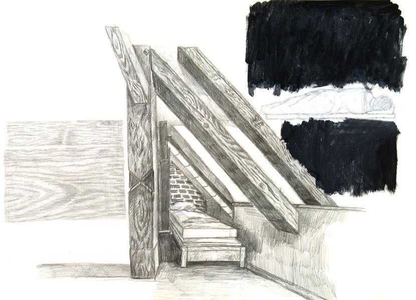 o.T., 40 x 60 cm, Bleistift, Acryl, Zeichenkreide