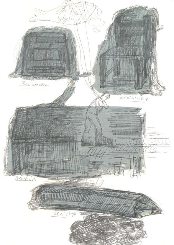 Blei, 30 x 21 cm, Bleistift, Acryl