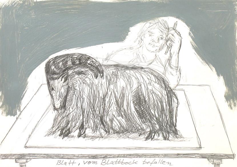 Blattbock, 21 x 30 cm, Bleistift, Acryl