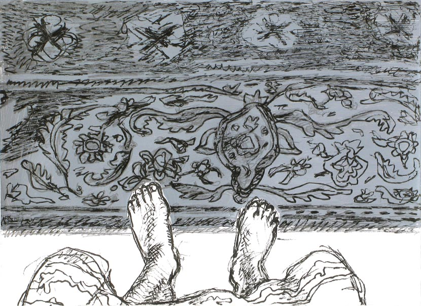 o.T., 15 x 21 cm, Acryl, Pigmenttusche, Bleistift