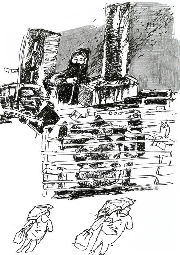 himmelgrau, 30 x 21 cm, Pigmenttusche, Bleistift