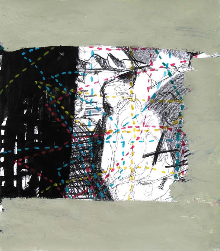 Geruest, 40 x 35 cm, Pigmenttusche, Acryl, Buntstift
