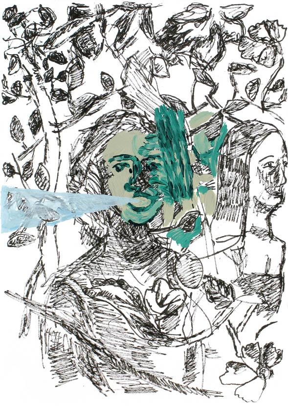 in Bewegung gesetzt, 21 x 15 cm, Pigmenttusche, Acryl