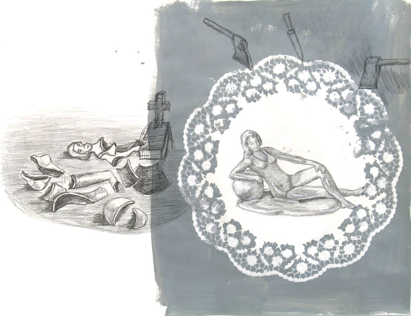 o.T., 40 x 60 cm, Bleistift, Acryl
