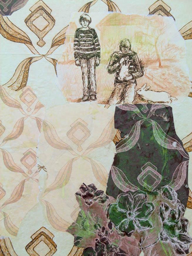 Ausschnitt Tapetencollage, Gruppenausstellung: You can feel it, Studiogalerie, Haus am Luetzowplatz