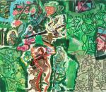 Spielfeld, 70 x 80 cm, Acryl auf Hartfaserplatte