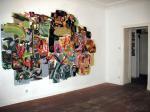 """Ausstellung """"Weisse Landschaft"""", mehrteilige Malerei auf Hartfaserplatten, Galerie Crystal Ball"""