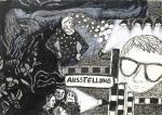 Ausstellung, 21 x 30 cm, Pigmenttusche, Acryl, Zeichenkreide