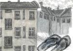 o.T., 30 x 35 cm, Buntstift, Zeichenkreide, Bleistift