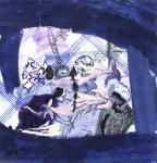 Eisregen, 40 x 40 cm, Pigmenttusche, Acryl, Buntstift