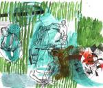 Verbund, 40 x 50 cm, Pigmenttusche, Acryl